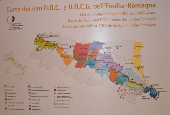 A map of Emilia-Romagna wines grouped by area of production