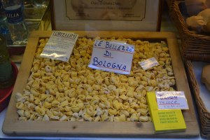 Tortellini on display in one of the many Quadrilatero's food stores