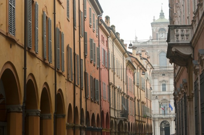 Modena's porticoes and colorful building facades