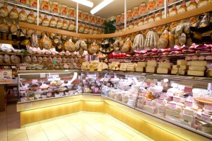 Local delicacies on display inside Salumeria Simoni