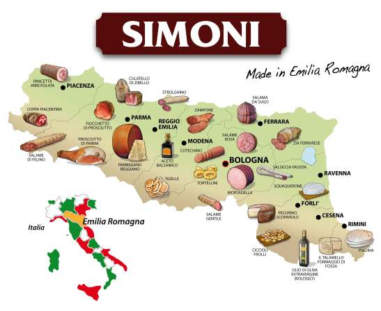 Emilia-Romagna's delicacies by area of origin