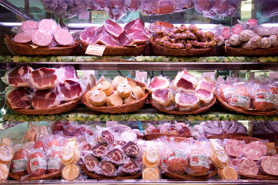 Cold cuts sold at Salumeria Simoni on display