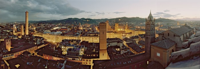A panoramic view of Bologna from the rooftop of the Torre Prendiparte