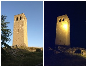 The tower of San Leo, visible from many spots around the area, by day and by night