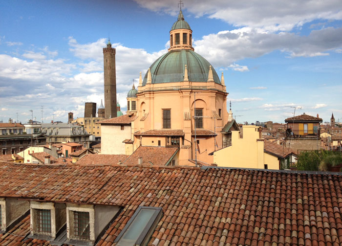 The dome of the Church of Santa Maria della Vita as seen from the terrace of San Petronio Basilica.