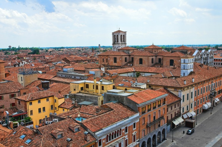 View of historic center of Ferrara.