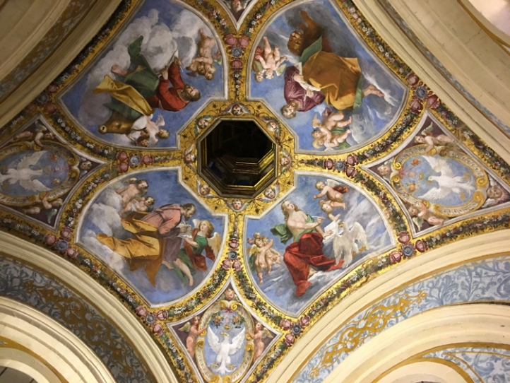 Frescoes adorn the ceiling of a room in the Estense Castle in Ferrara