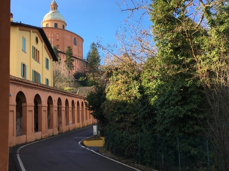 View of the Portico di San Luca and the Sanctuary of the Madonna di San Luca.