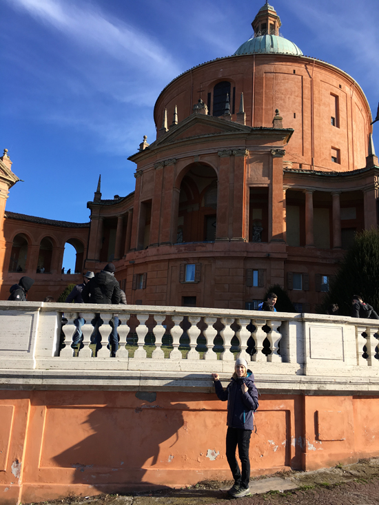 Silvia Donati walking tour guide in Bologna in front of the Basilica di San Luca