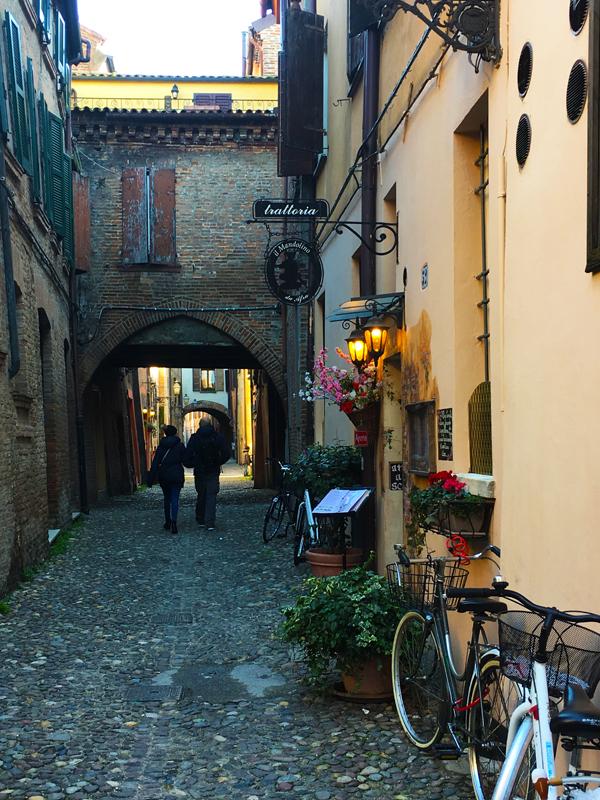 Medieval street Via delle Volte in Ferrara