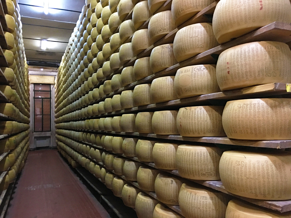 Parmigiano Reggiano wheels in the aging room.