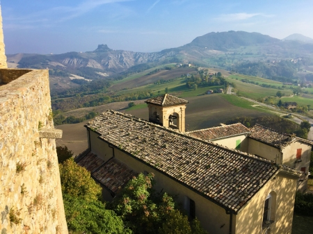 View of the hilly Reggio Emilia countryside from the Rossena Castle.