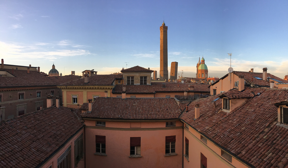 View of Bologna's red roofs.