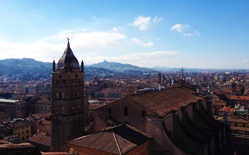 Panoramic view of Bologna from Torre Prendiparte B&B