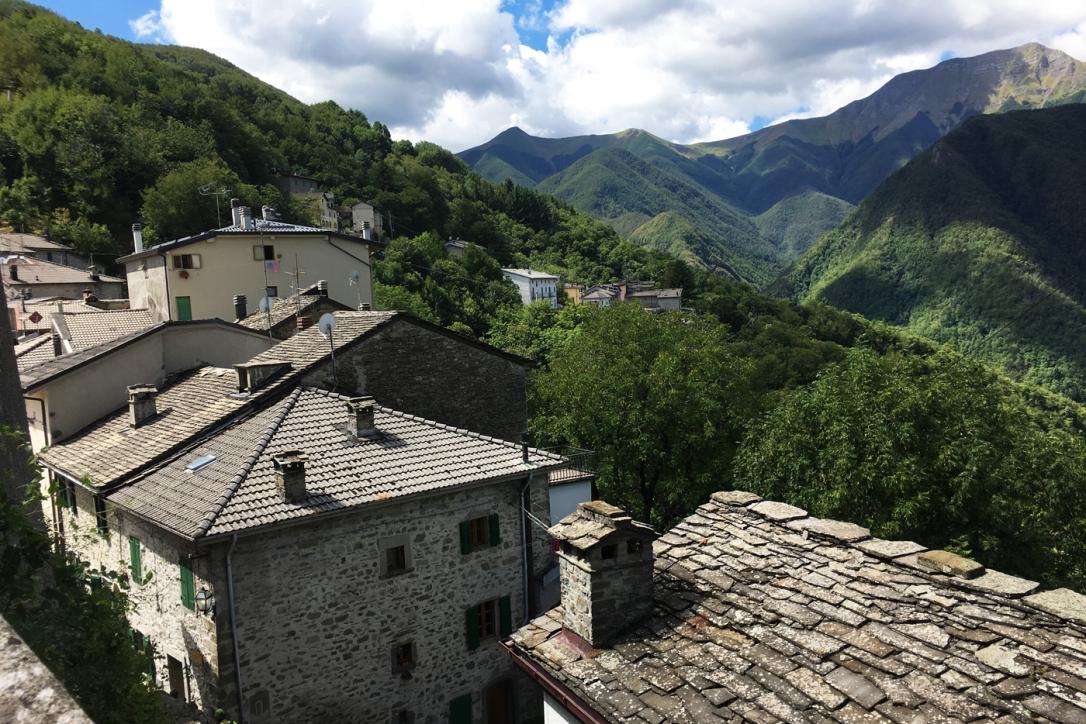 The mountain village of Monteacuto delle Alpi in the Bologna Apennines.