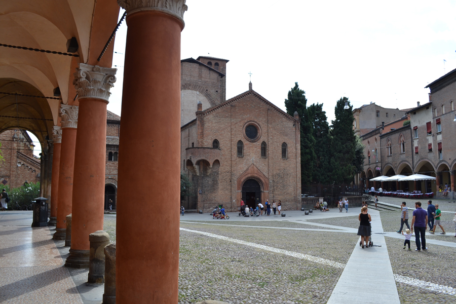 Portico in Bologna in Piazza Santo Stefano and Seven Churches complex