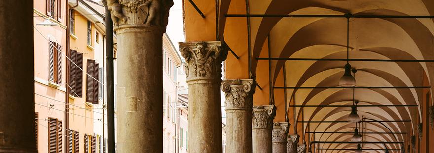 A typical portico in Bologna