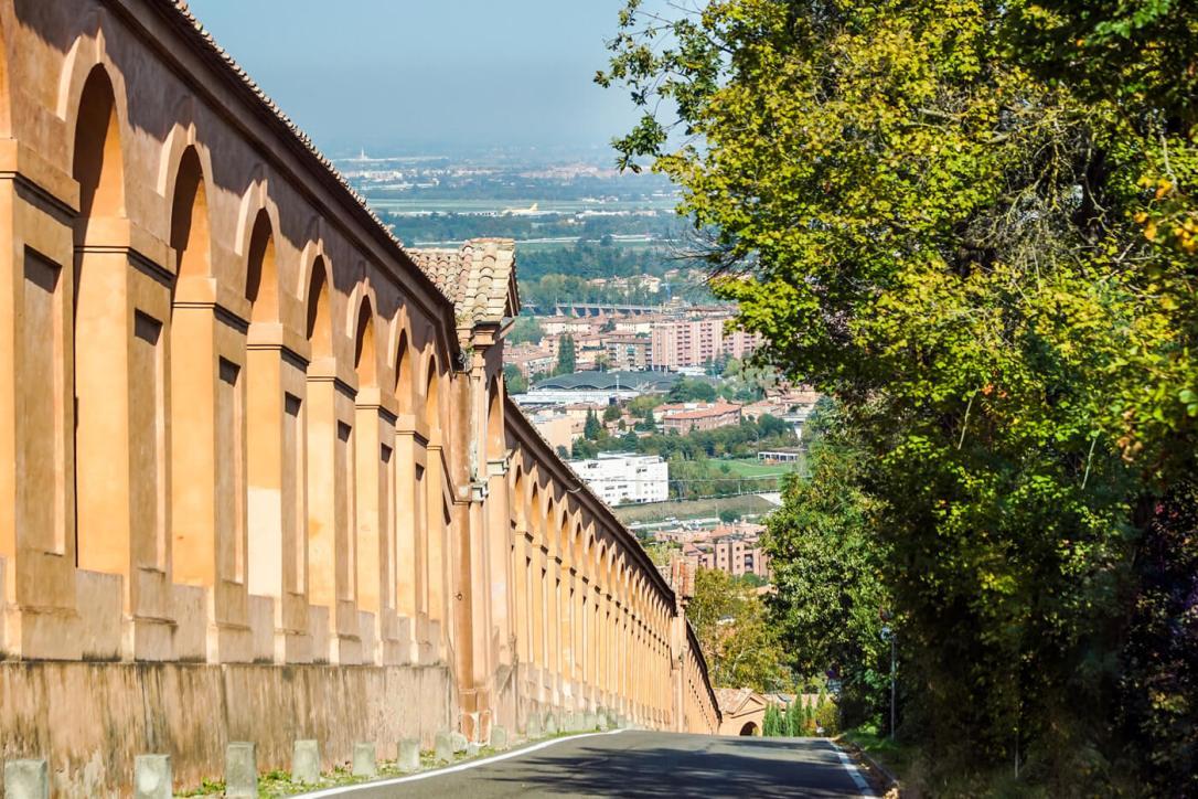 View of the Portico di San Luca in Bologna