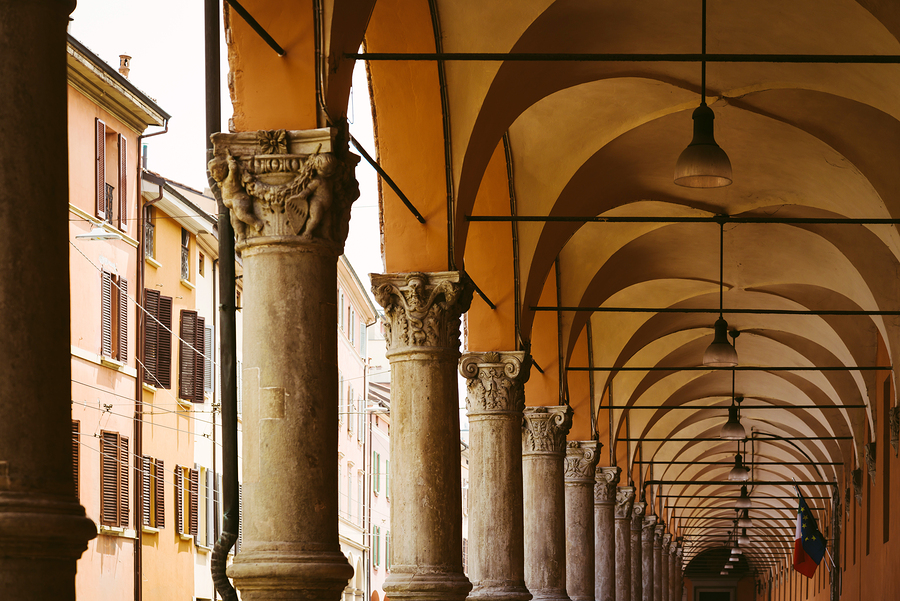 A typical portico in Bologna