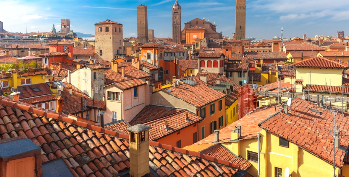 View of Bologna's rooftops and medieval towers