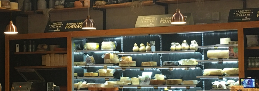 The cheese counter at FICO Eataly World in Bologna
