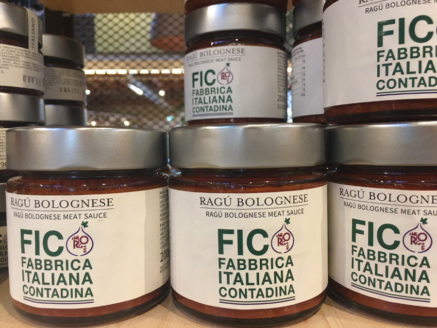 Jars of ragu bolognese at FICO Eataly World