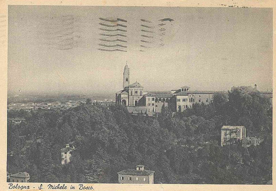 old balck and white postcard of San Michele in Bosco Bologna