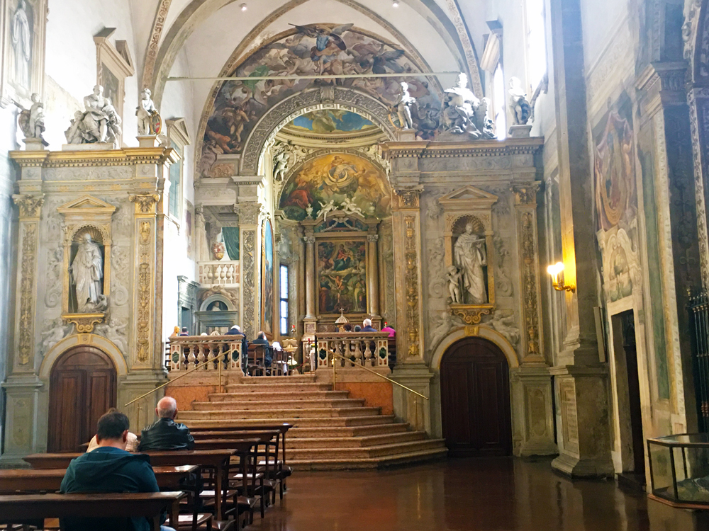 Interior of church of San Michele in Bosco in Bologna