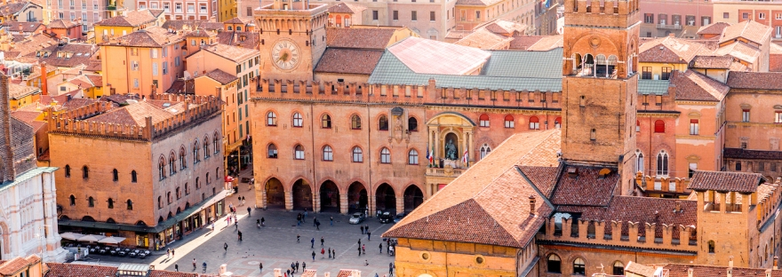 View from above of Bologna's Piazza Maggiore